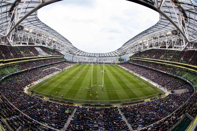 A view of the Aviva Stadium during the match
