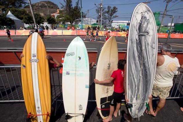 Local surfers watch Ireland's Rob Heffernan