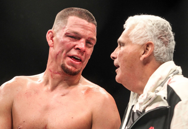 Nate Diaz after defeating Conor McGregor