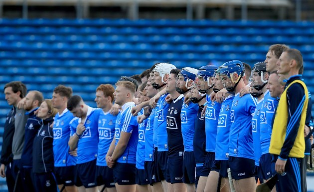 The Dublin team stand for The National Anthem