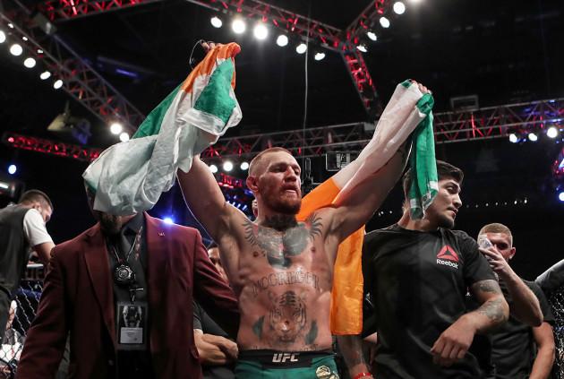 Conor McGregor celebrates winning