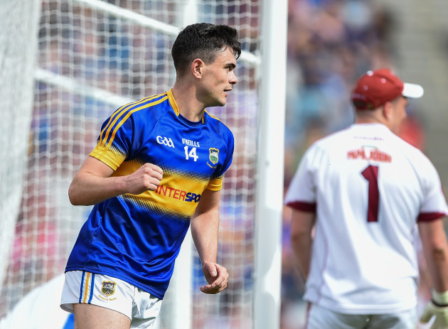 Michael Quinlivan celebrates after scoring a goal