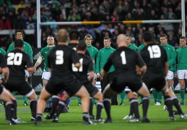 Ireland team face the Haka