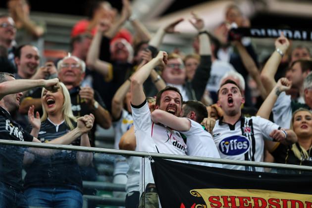 Dundalk supporters celebrate Robert Benson's goal