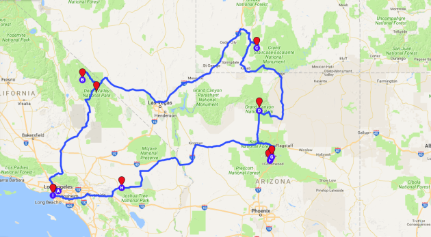 Map Of Arizona Utah Border.My Best Road Trip The National Parks Of California Arizona