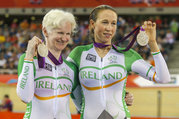 Catherine Walsh and her pilot Francine Meehan celebrate winning silver