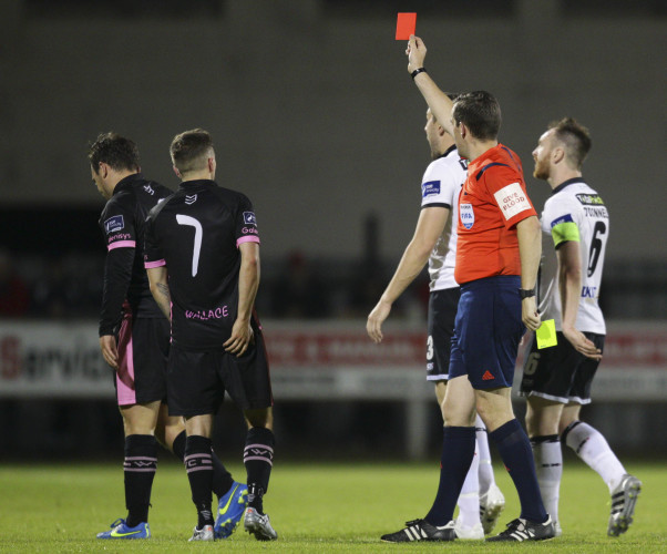 Peter Higgins is sent off by Robert Harvey