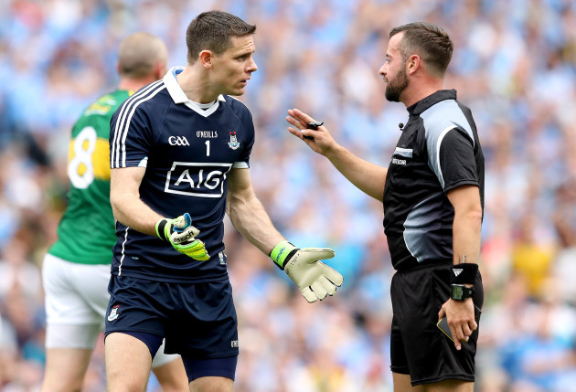 Stephen Cluxton argues with Referee David Gough after conceding the second goal