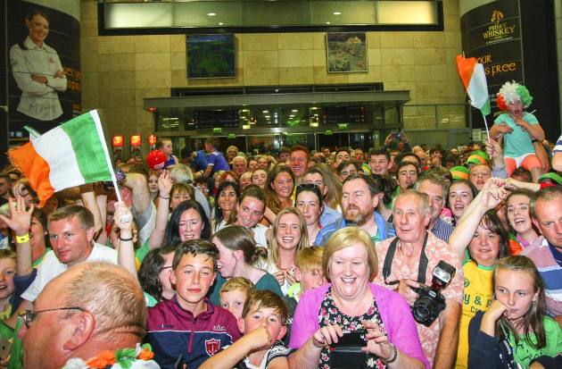 A general view of fans attending the homecoming at Cork Airport
