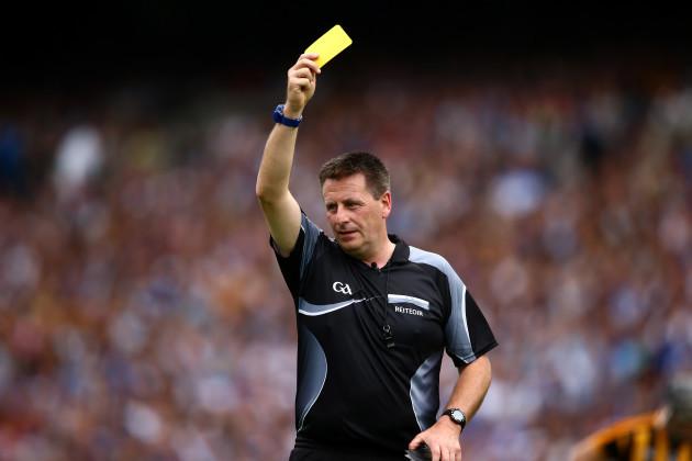 Brian Gavin issues a yellow card