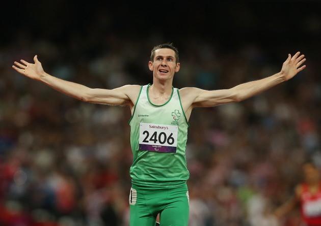 Michael McKillop celebrates winning gold