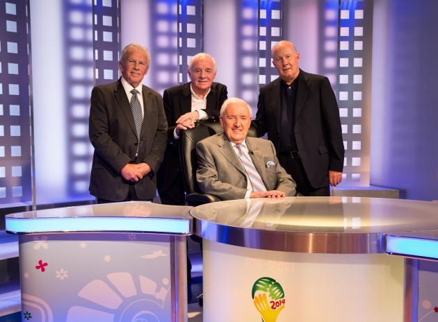 Bill O'Herlihy pictured with John Giles, Eamon Dunphy and Liam Brady