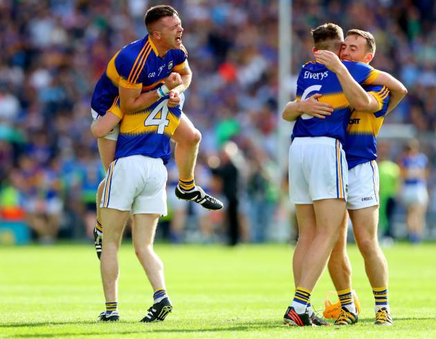 Padraic Maher, Michael Cahill, Ronan Maher and John O'Keefe celebrate at the final whistle