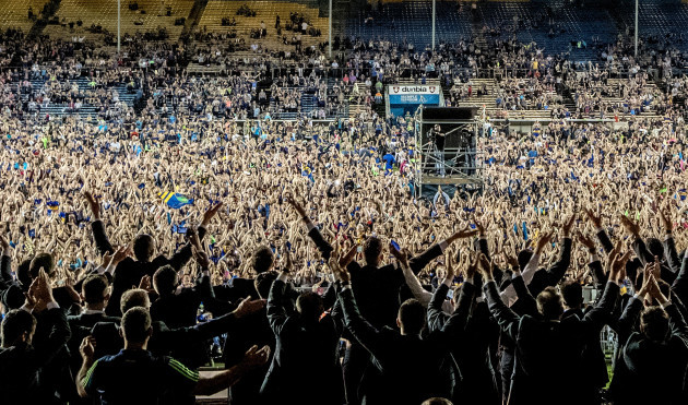 Tipperary players and fans perform the Icelandic Soccer clap