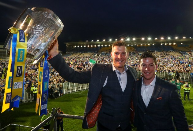 Seamus Callanan and John O'Dwyer with the Liam McCarthy Cup