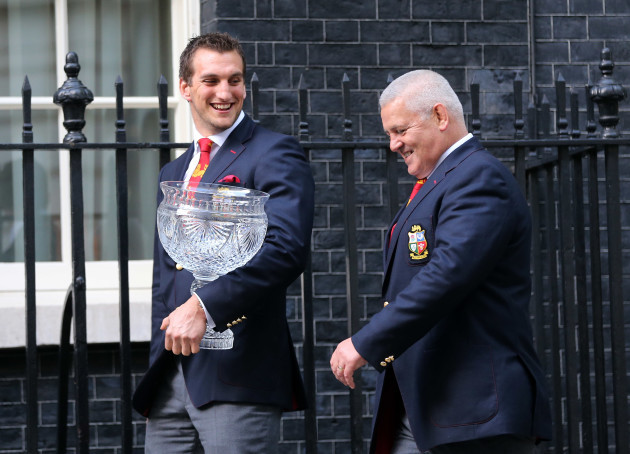 Sam Warburton and Warren Gatland arriving at 10 Downing Street