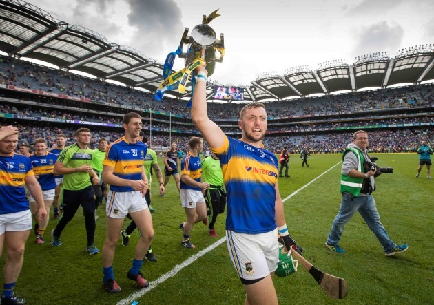 James Barry celebrates with the Liam McCarthy