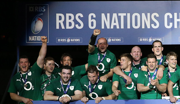 Ireland players celebrate at the winners board