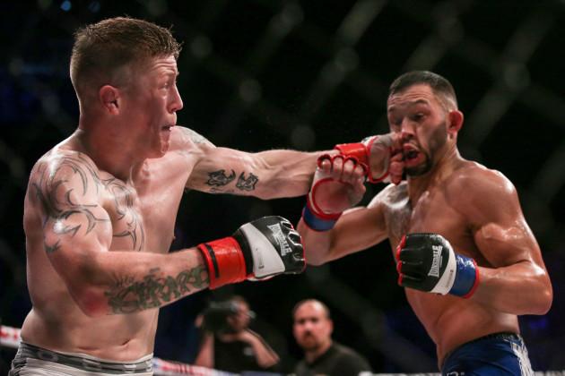 Paul Redmond in action against Chris Stringer