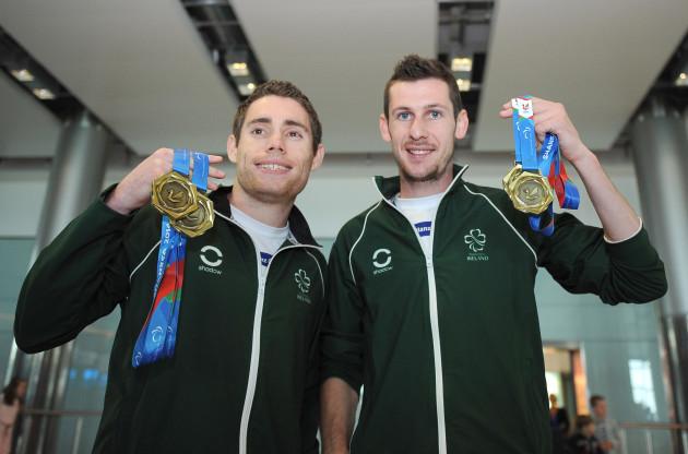 Jason Smyth and Michael McKillop display their medals