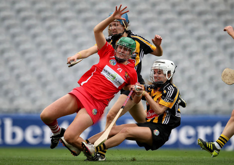Hannah looney is fouled by Davina Tobin to win a penalty