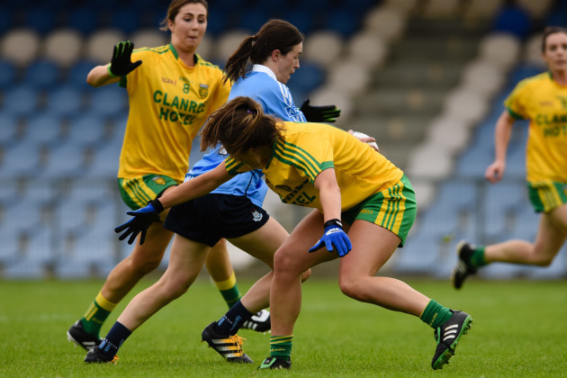 Sinead Aherne on her way to scoring a goal