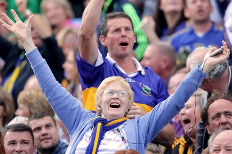 Tipperary fans cheer on their team