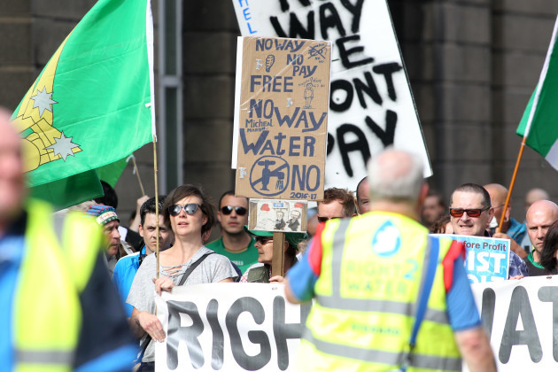 17/09/2016. Water Protest March. Pictured people m