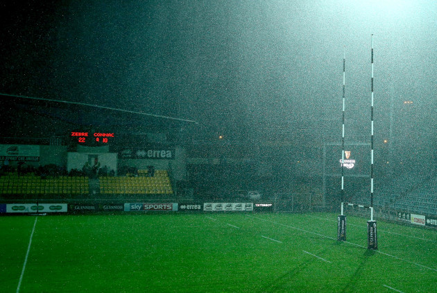 A view of conditions in the Lanfranchi Stadium which caused the match to be temporarily suspended