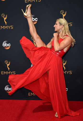 c5a5966042 Everybody s loving this stuntwoman s kick ass Emmy red carpet photos