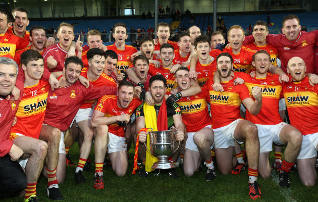 Castlebar Mitchels players celebrate with the cup