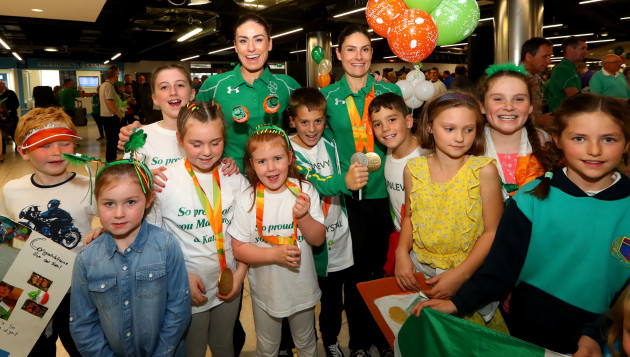 Katie-George Dunlevy and Eve McCrystal with family