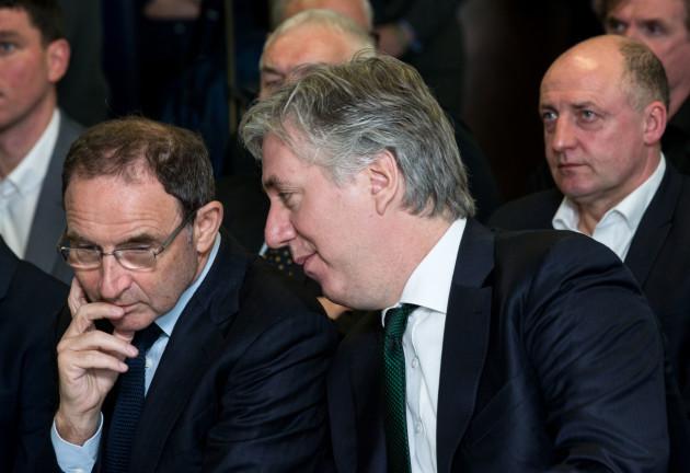 Republic of Ireland manager Martin O'Neill and FAI CEO John Delaney