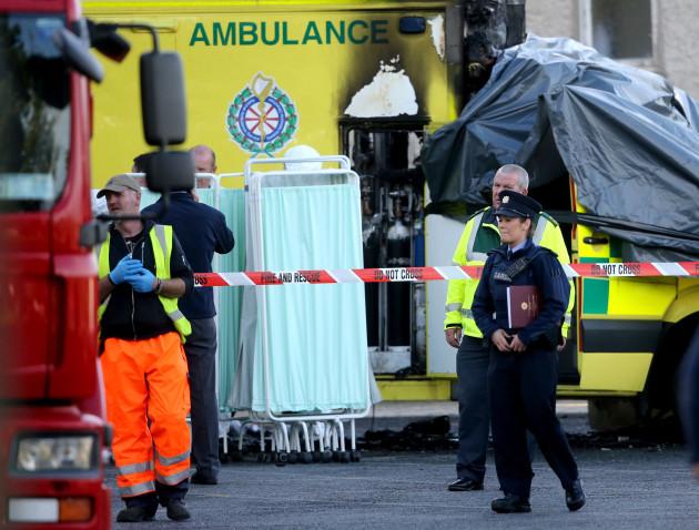 Ambulance fire at hospital