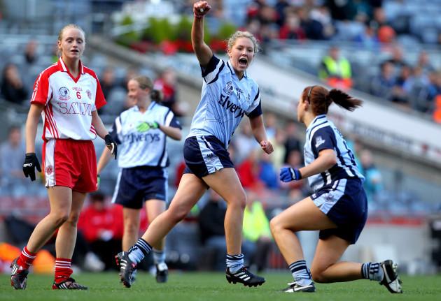 Amy McGuinness celebrates a second half score