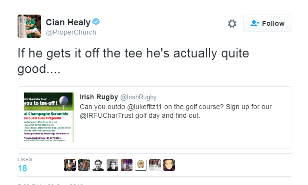 Healy tweets