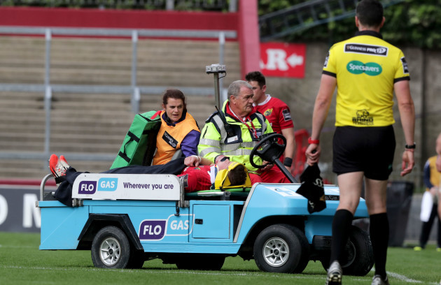 Jack O'Donoghue is stretchered off the field