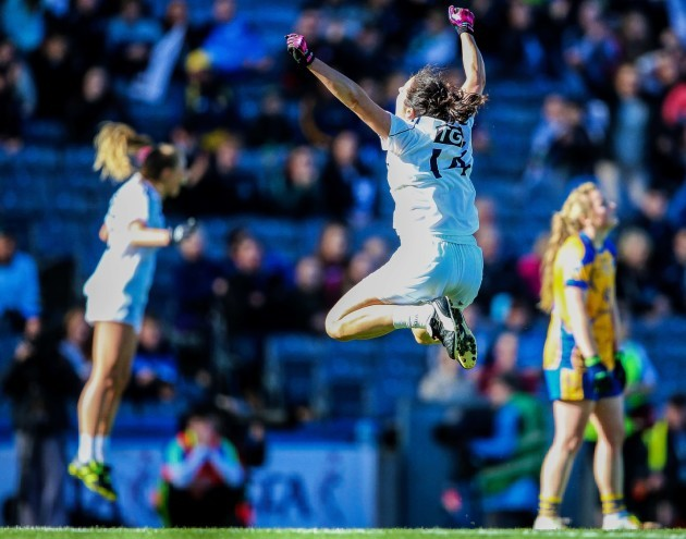 Noelle Earley celebrates at the end of the game
