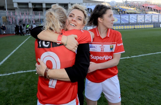 Valerie Mulcahy celebrates with Briege Corkery