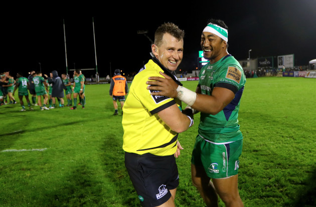 Bundee Aki chats to referee Nigel Owens after the game