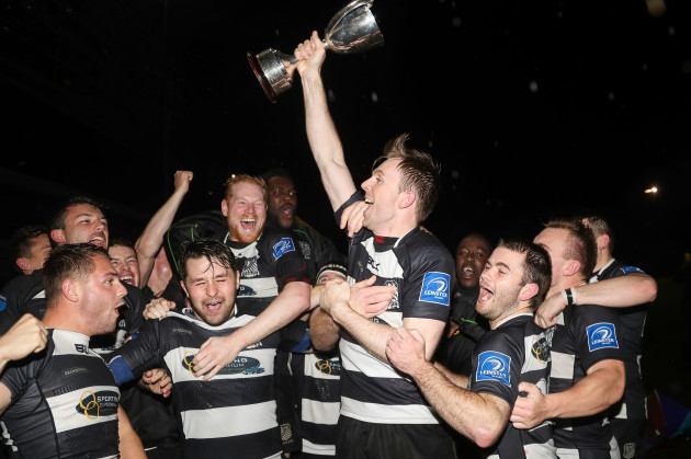 Old Belvedere celebrate winning the Leinster League