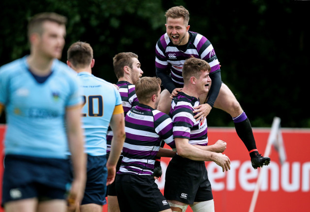 Stephen OÕNeill celebrates with Robert Duke after his try