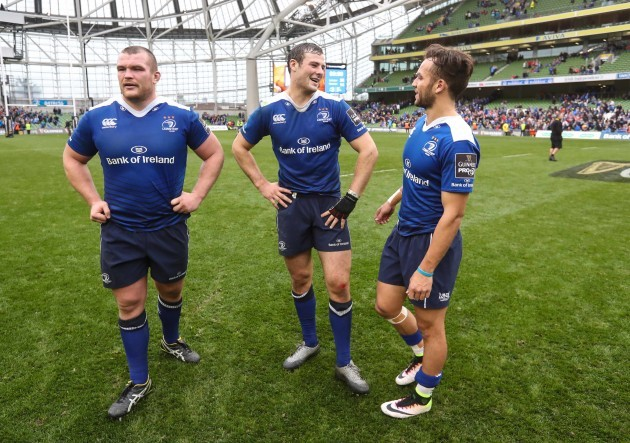 Leinster's Jack McGrath with  Robbie Henshaw and Jamison Gibson-Park  after the match