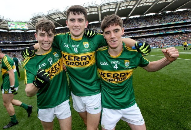 Conor Geaney, Mark O'Connor and Tom O'Sullivan celebrate