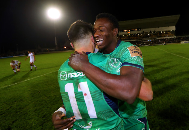 Cian Kelleher and Niyi Adeolokun celebrate