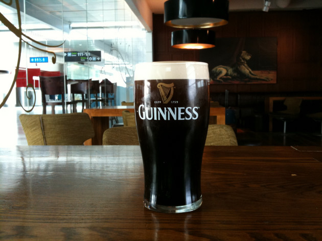 A pint of Guinness at a bar in Dublin airport