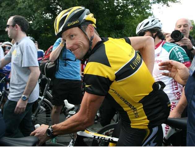 Lance Armstrong at the start his ride through the Phoenix Park