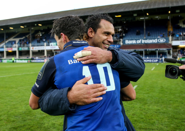 Joey Carbery and Isa Nacewa celebrate after the game