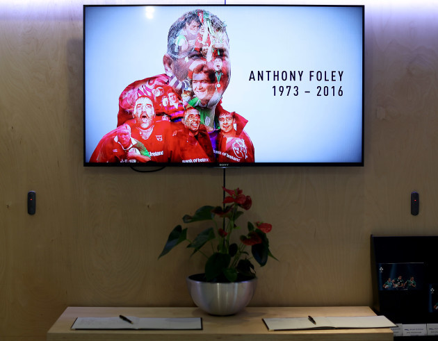 A view of the tribute to Anthony Foley above the book of condolence