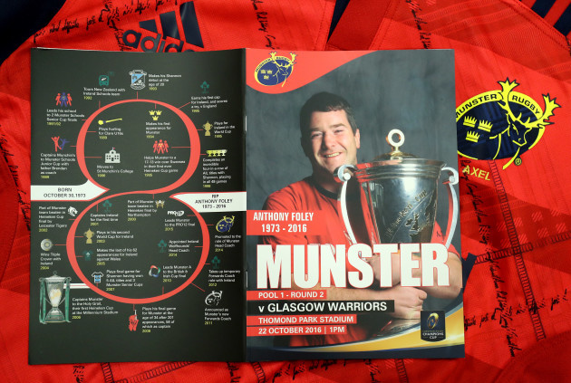 A view of the match day programme listing the achievements of the late Munster Head Coach Anthony Foley